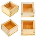 Traditional wooden box for sake masu isolated on white background Stock Photo
