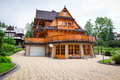 Traditional wooden house architecture in zakopane poland Stock Image
