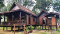 Traditional wooden house malay located in the jungle Royalty Free Stock Photo