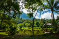 Traditional wooden house near the lake and mountain in the background. Kuching to Sarawak Culture village. Borneo, Malaysia