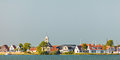 Traditional wooden houses in the small Dutch village of Durgerdam Royalty Free Stock Photo