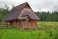 Traditional wooden hut in tatra mountains poland Stock Images