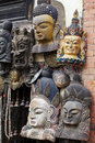 Traditional Wooden Masks, Kathmandu, Nepal Stock Photos