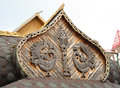 Traditional wooden russian architecture carved birds decoration Royalty Free Stock Photo