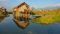 Traditional wooden stilt houses on inle lake myanmar burma shan state Royalty Free Stock Photography
