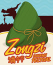 Traditional Zongzi with a Dragon Boat Behind for Duanwu Festival, Vector Illustration Royalty Free Stock Photo