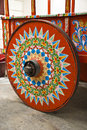 Traditionally painted ox cart wheel costa rica typical decorated and indigenous cultures cultural heritage of humanity Royalty Free Stock Photography