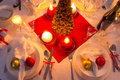 Traditionally set table for christmas eve in home Royalty Free Stock Photography