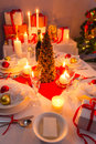 Traditionally set table for christmas eve view of the Royalty Free Stock Images