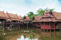 Traditionally thai architecture house wooden in thailand Royalty Free Stock Image