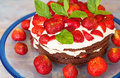 Traditionel midsummer cake in Sweden, strawberry and cream. Royalty Free Stock Photo