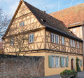 Traditionele half betimmerde school in rothenburg ob der tauber Royalty-vrije Stock Fotografie