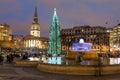 Trafalgar Square in London at Christmas Royalty Free Stock Photo