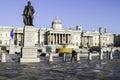 Trafalgar square in london england uk people walking a sunny autumn morning street life Royalty Free Stock Image
