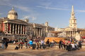 Trafalgar square the in london overcrowded by tourists Royalty Free Stock Photos