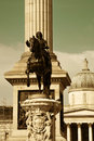 Trafalgar square with nelsons column and statue in london Royalty Free Stock Image