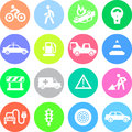Traffic application icons in color circles all graphic elements grouped for convenience on separate layers Royalty Free Stock Photography