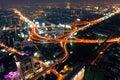 Traffic in Bangkok by night Royalty Free Stock Photo