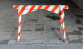 Traffic barricade old wooden striped barrier sign Royalty Free Stock Photos