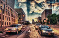 Traffic in Brooklyn Streets at dusk, New York Royalty Free Stock Images