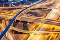 Traffic on a busy intersection on Sheikh Zayed highway Royalty Free Stock Photo