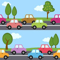 Traffic cars seamless pattern an abstract with colorful on the road trees and clouds useful also as design element for texture or Stock Photography