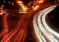 Traffic chaos at night. Royalty Free Stock Photo