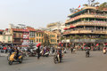 Traffic in the city center of Hanoi nearby the Hoan Kiem lake Royalty Free Stock Photo