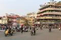 Traffic in the city center of Hanoi nearby the Hoan Kiem lake Royalty Free Stock Photo