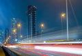 Traffic city night at Bangkok,Thailand Royalty Free Stock Photo