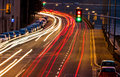 Traffic in city at night symbol of congestion air pollution Royalty Free Stock Photo