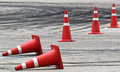 Traffic cone background with on road track Stock Image