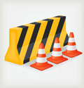Traffic cone and block road Royalty Free Stock Image