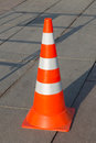 Traffic cone reflective with orange and silver stripes Royalty Free Stock Image