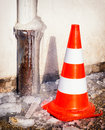 Traffic cone at a sidewalk Royalty Free Stock Photography