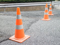 Traffic cones, construction, concrete road. Royalty Free Stock Photo