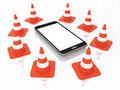 Traffic Cones with Mobile Phone with blank Screen  on the White background Royalty Free Stock Photo