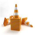 Traffic cones pile on a white background Royalty Free Stock Photography