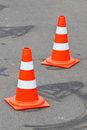 Traffic cones on the road Stock Image