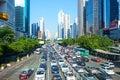 shenzhen city traffic jam congestion main avenue Royalty Free Stock Photo
