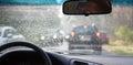 Traffic congestion wheel car rain Royalty Free Stock Photo