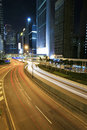 Traffic through downtown Hongkong Stock Photo