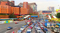 Traffic at downtown kowloon hong kong a look the heavy of near cross harbor tunnel area in Royalty Free Stock Photography