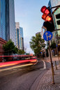 Traffic in frankfurt in the evening car with light trails motion blur and lights city of am main germany Stock Images