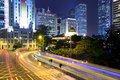 Traffic in hong kong city at night Stock Photo