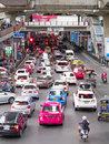 Traffic jam bangkok august on the road below the bts skytrain at siam station bangkok central shopping area on august in bangkok Royalty Free Stock Photos
