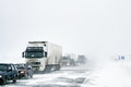 Traffic jam bashkortostan russia february at the interurban road caused by a heavy snowstorm Royalty Free Stock Image