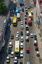 Traffic jam cars and buses urban scene top view vladivostok city russia Royalty Free Stock Photos