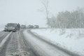 Traffic jam in heavy snowfall on mountain road jelenia gora poland may caused by nearby jelenia g�ra poland Stock Image