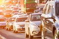 Traffic jam on the highway Royalty Free Stock Photo